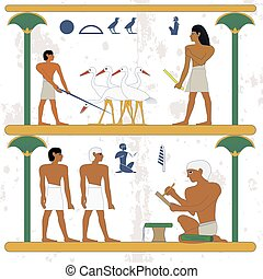 Ancient egypt background. Peasant working at ciconia farmind and egypt nobleman scene. The scribe keeps a census of the peasants. Historical background.Ancient people