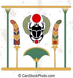 Ancient egypt background. Scarab with fans and cane compostion. Scarab amulet with color fans. Historical background. Ancient people