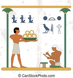 Ancient egypt background. Servant with gold and scribe compostion .Historical background. Ancient Egypt people, people of the Nyle
