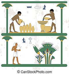 Ancient egypt background. Water carriers at work. Man taking water jug to cane plantation. Historical background. Ancient people