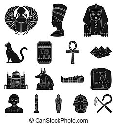 Ancient Egypt black icons in set collection for design. The...