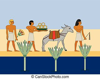 Ancient Egypt caravan travels through the desert. Egyptian traders with donkey travels througth the desert.