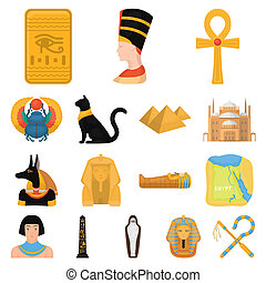 Ancient Egypt cartoon icons in set collection for design....