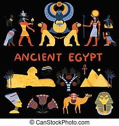 Ancient Egypt Decorative Icons Set