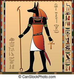 Egyptian murals. Anubis - the jackal-headed deity.