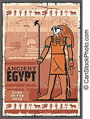 Ancient Egypt Horus god, hieroglyphics. Religion