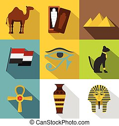 Ancient Egypt icon set, flat style