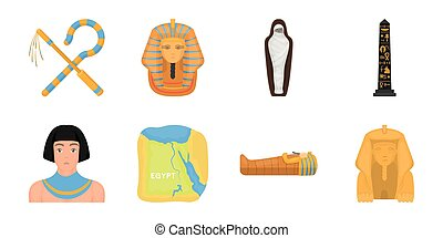 Ancient Egypt icons in set collection for design. The reign of Pharaoh vector symbol stock web illustration.