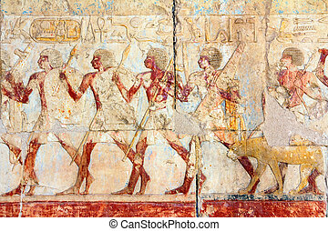 ancient egypt images and hieroglyphics in temple of...