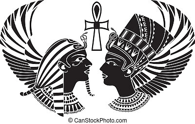 ancient egypt king and queen composition with wings