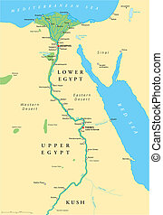 Ancient Egypt Map - Historical map of Ancient Egypt with...