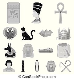 Ancient Egypt monochrome icons in set collection for design. The reign of Pharaoh vector symbol stock web illustration.