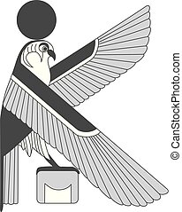 Ancient egypt mural, sculpture ancient egypt background. An illustration of an eagle.