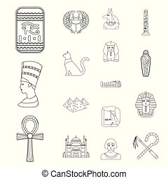 Egypt outline icons Vector Illustration | csp54459910