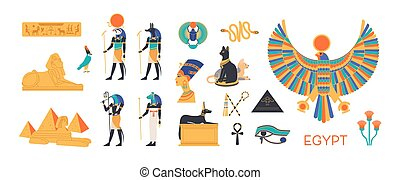 Ancient Egypt set - gods, deities of Egyptian pantheon, mythological creatures, sacred animals, holy symbols, hieroglyphs, architecture and sculpture. Colorful flat cartoon vector illustration.