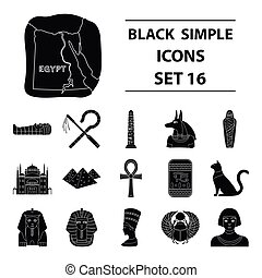 Ancient Egypt set icons in black style. Big collection of ancient Egypt vector symbol stock illustration