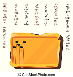 Ancient Egypt stone board or clay plate cartoon vector with hieroglyphs and Egyptian symbol, tall green trees, date palms grove isolated on white background