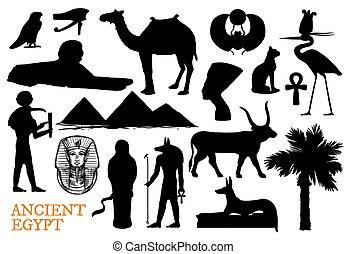 Ancient Egypt symbols of gods and travel landmarks