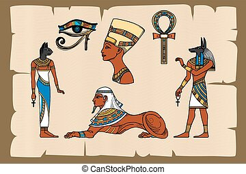 Ancient Egypt symbols on papyrus. Papyrus egyptian, ancient...