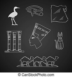 Ancient Egypt travel and art icons
