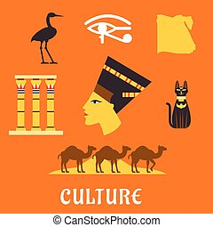 Ancient Egypt travel and culture flat icons