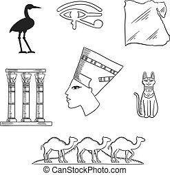 Ancient Egypt travel and culture icons