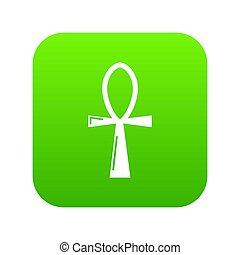 Ancient egyptian cross ankh icon green