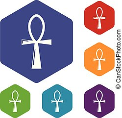 Ancient egyptian cross ankh icons vector hexahedron