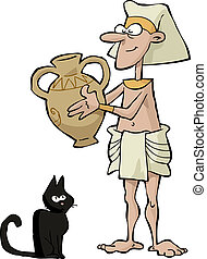 Ancient Egyptian - Egyptian with a vase and a cat vector