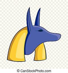 Ancient egyptian god Anubis icon, cartoon style
