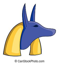 Egyptian god anubis icon, cartoon style  Egyptian god anubis icon in