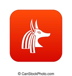 Ancient egyptian god Anubis icon digital red