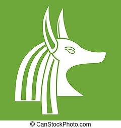 Ancient egyptian god Anubis icon green - Ancient egyptian...