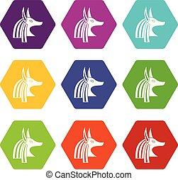 Ancient egyptian god Anubis icon set color hexahedron -...