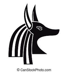 Ancient egyptian god Anubis icon, simple style - Ancient...