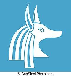 Ancient egyptian god Anubis icon white isolated on blue...