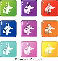 Ancient egyptian god Anubis icons 9 set - Ancient egyptian...
