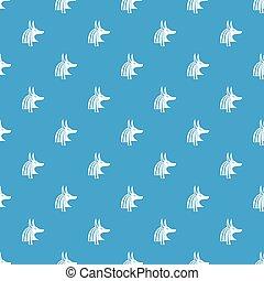 Ancient egyptian god Anubis pattern seamless blue - Ancient...