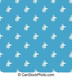 Ancient egyptian god Anubis pattern seamless blue