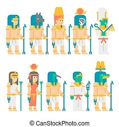Ancient egyptian gods set cartoon design