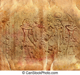 Ancient Egyptian hieroglyphics carved in stone