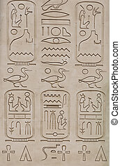 Ancient Egyptian hieroglyphics - replica on plaster wall