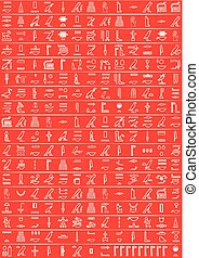 Ancient Egyptian hieroglyphics. Red background.