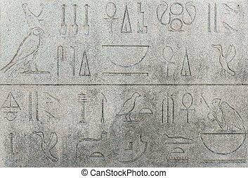 Ancient Egyptian hieroglyphics - replica on stone wall