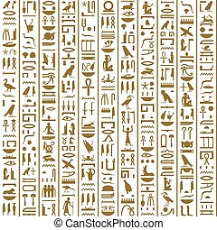 Ancient Egyptian Hieroglyphs Seamless for background,...