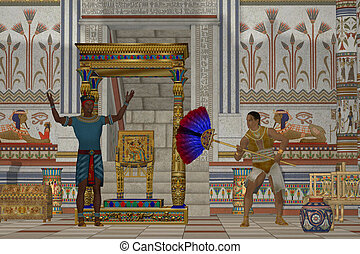 Ancient Egyptian Men - A servant fans the Pharaoh as he...