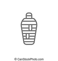 Ancient egyptian mummy line icon. Isolated on white background