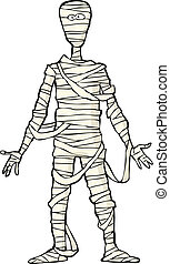 Ancient Egyptian mummy on white background vector...