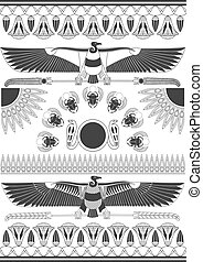 Ancient Egyptian murals, sculptures and patterns. Ancient egypt background. Vulture and scarab. Monochrome