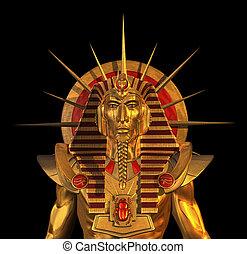 Ancient Egyptian Pharaoh Statue on Black - 3D render...